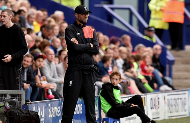 Klopp on the sidelines at Prenton Park on Friday night. (Picture: Getty Images)