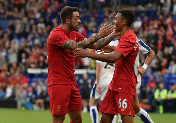 Ings celebrates with Alexander-Arnold after opening the scoring late on. (Picture; Getty Images)