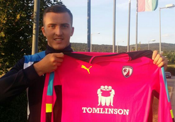 Fulton unveiled with his new shirt after joining up with Chesterfield in Hungary. (Picture: Chesterfield FC)