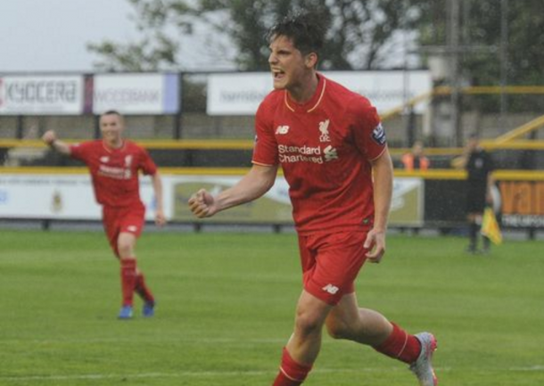 Canos celebrates after scoring for Liverpool's U21s at the start of last season. (Picture: Liverpool Echo)