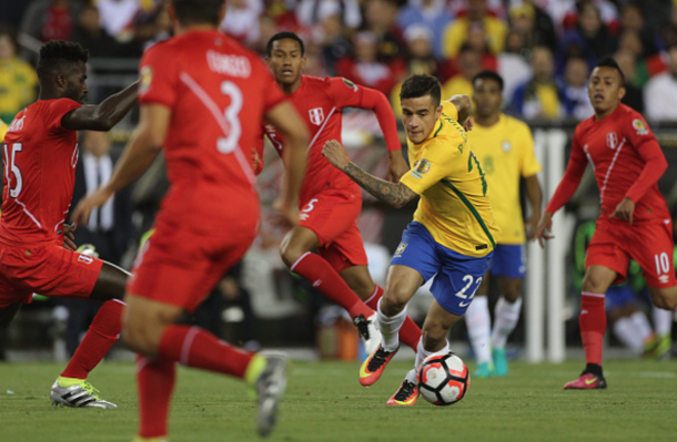 Coutinho in action for Brazil against Peru at the Copa America Centenario. (Picture: Getty Images)