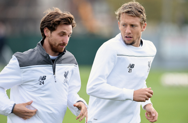 Lucas and Allen in Liverpool training last term. (Picture: Getty Images)