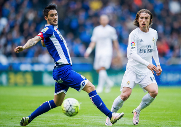 Alberto in action for Deportivo against Real Madrid's Luka Modric last season. (Picture: Getty Images)