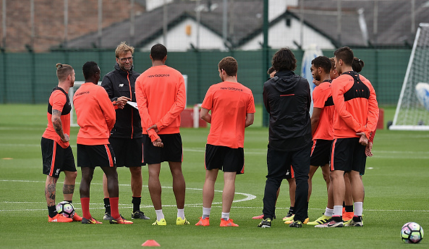 Klopp in pre-season training at Melwood with a number of his first-team squad. (Picture: Getty Images)