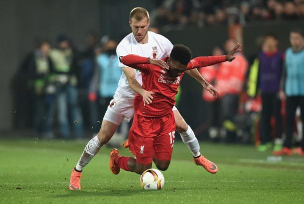 Klavan battles with Liverpool's Daniel Sturridge last season. (Picture: Getty Images)