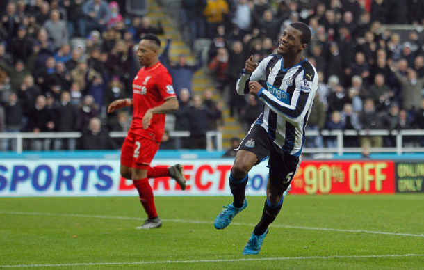 Wijnaldum celebrates scoring against the Reds back in December at St James' Park. (Picture: Getty Images)