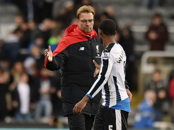 Klopp and Wijnaldum after Newcastle's 2-0 victory over Liverpool last December. (Picture: Getty Images)