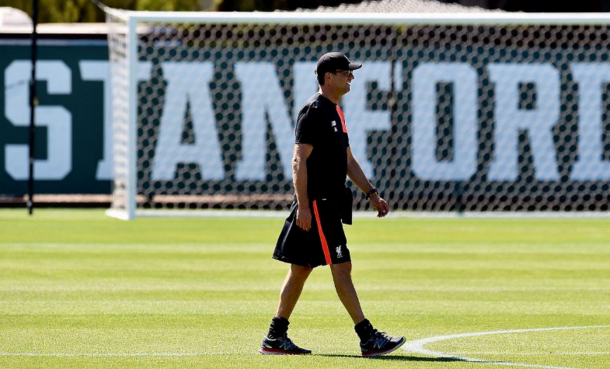 Klopp led a strong squad for training, including the Reds' returning England quartet. (Picture: Liverpool FC via Getty Images)