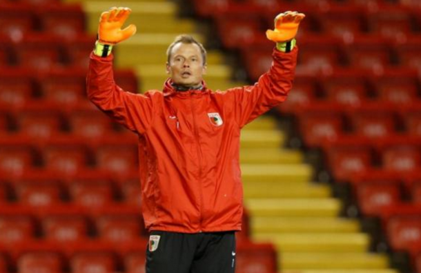 Manninger training at Anfield as an Augsburg player back in February. (Picture: Getty Images)