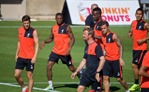 Wijnaldum joined the Reds' other forwards for their session in Stanford. (Picture: This is Anfield)