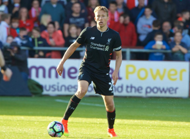 Lucas Leiva in action for Liverpool in pre-season away at Fleetwood Town. (Picture: This is Anfield)