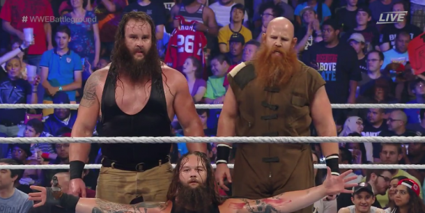 The Wyatt Family bask in glory following their win (image: WWE Network)