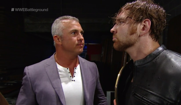 Shane offers some last minute advice for Ambrose (image: WWE Network)