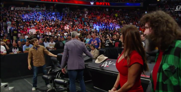 All four authority figures are at ringside for this high profile match (image: WWE NETWORK)