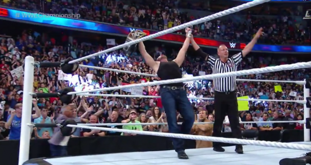 Dean Ambrose celebrates his huge victory! (image: WWE NETWORK)