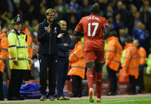 Klopp and Sakho on the player's last appearance, a 4-0 win over Everton in which he scored. (Picture: Getty Images)
