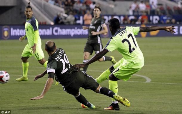 Origi fires the breakthrough goal at the Levi's Stadium in Santa Clara. (Picture: Association Press)