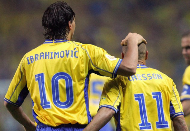 Ibrahimovic and Larsson in action for Sweden back in the day. (Picture: Getty Images)