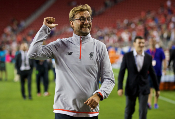 Klopp greets the fans after full-time. (Picture: This is Anfield)