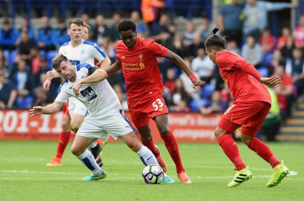 Ejaria in action at Tranmere earlier in pre-season. (Picture: Liverpool Echo)