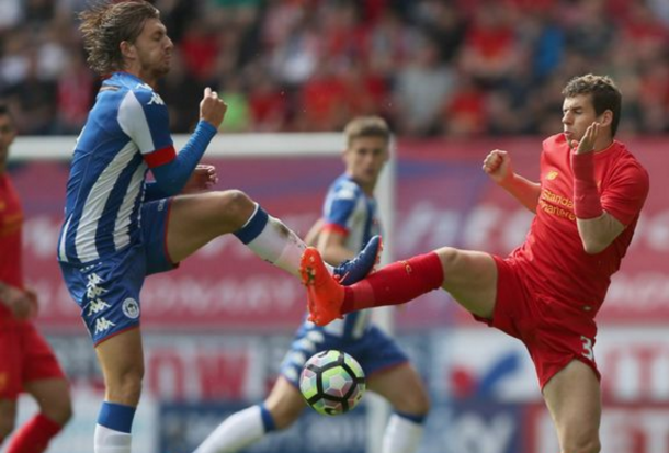 Flanagan in action for the Reds at Wigan Athletic in pre-season. (Picture: Getty Images)