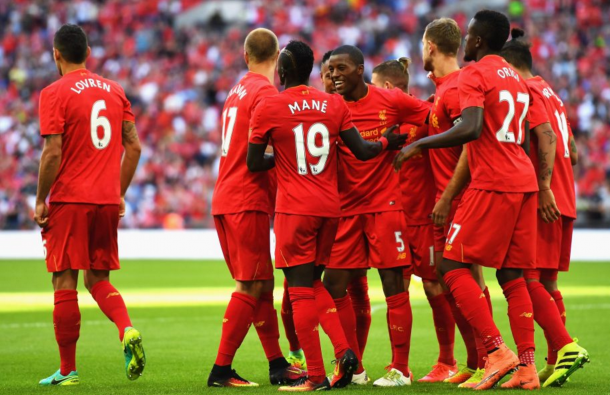 The Reds celebrate their second goal. (Picture: Liverpool FC via Getty Images)