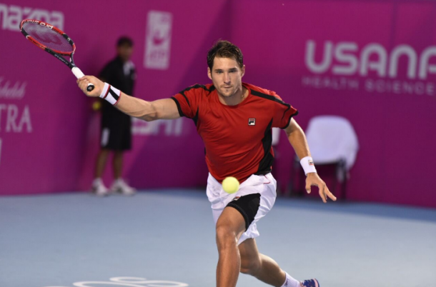 Dusan Lajovic in action during the second day of Los Cabos Open. Photo: Mextenis