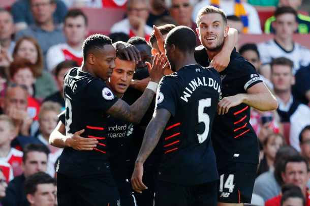 The Reds celebrate Coutinho's second of the afternoon. (Picture: Getty Images)