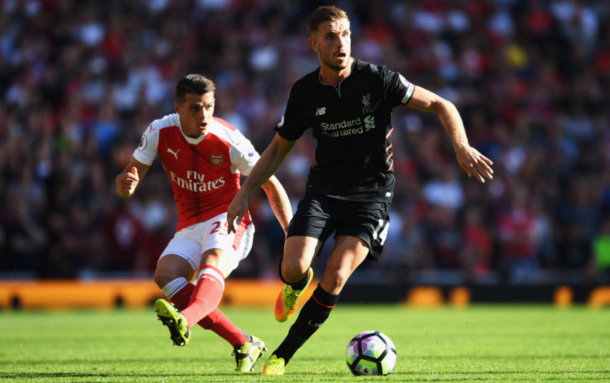 Henderson was Liverpool's most defensive midfielder for a long stage in the game. (Picture: Getty Images)