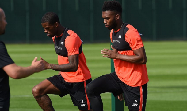 Sturridge and Wijnaldum in training on Tuesday afternoon. (Picture: Getty Images)