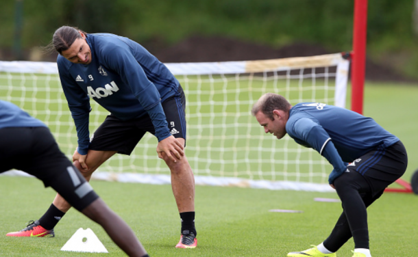 Rooney and Ibrahimovic in training (Nigel Roddis/Getty Images)