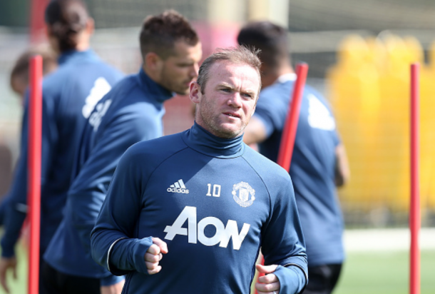 Rooney during training (John Peters/Getty Images)