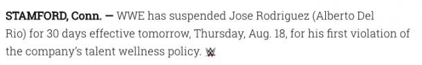 The statement on WWE.com (image:wwe.com)