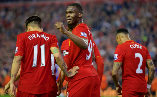 Benteke celebrates his last Liverpool goal in May, a last-gasp equaliser in a 1-1 draw with Chelsea. (Getty Images)