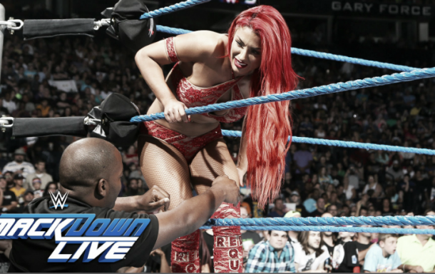 The in-ring debut of Eva Marie has been delayed for the past three weeks (image: youtube.com)