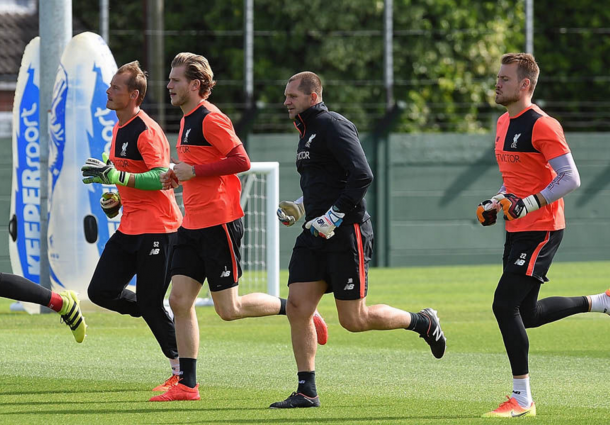 Karius trains along Mignolet and Alex Manninger at Melwood earlier this week. (Picture: Getty Images)