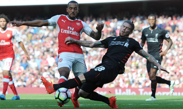 Moreno gave away a penalty for a rash challenge on Walcott inside the area. (Picture: Getty Images)