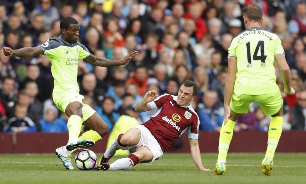 Wijnaldum could not assert himself in the game at a wet and windy Turf Moor. (Picture: Getty Images)