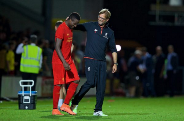 Klopp and Origi, who scored the game's opening goal, share a laugh on Tuesday night. (Picture: This is Anfield)