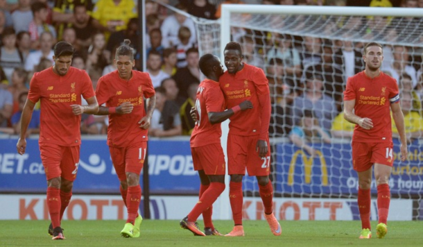Origi and Mane celebrate together after the game's opening goal. (Picture: Sky Sports)