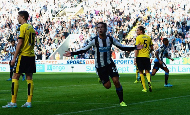 Janmaat celebrates scoring against Watford last term, although the Hornets won the game. (Picture: Getty Images)