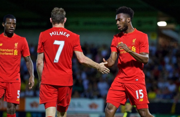 Sturridge celebrates with Milner to celebrate turning in the midfielder's cross for 4-0. (Picture: Daily Mirror)
