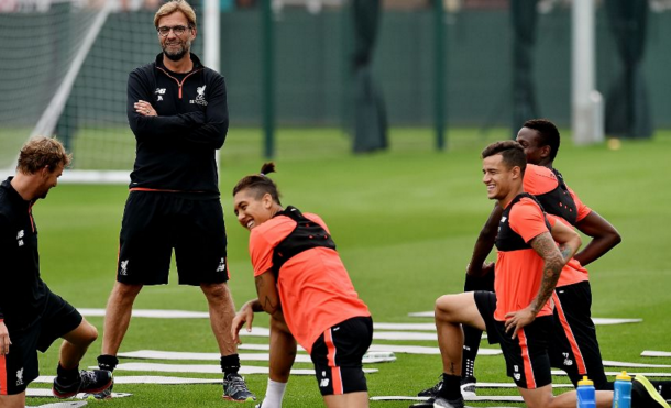 Coutinho and Klopp are all smiles in training at Melwood. (Picture: Liverpool FC)