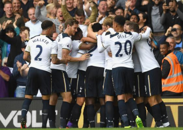 Spurs celebrate Wanyama's late winner against Palace last weekend. (Picture: The Independent)