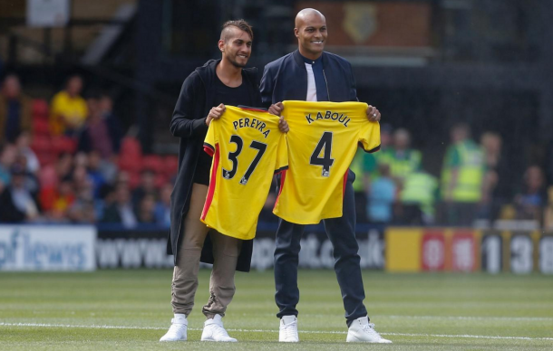 Pereyra and Kaboul were unveiled in front of the Watford fans last weekend. (Picture: Getty Images)