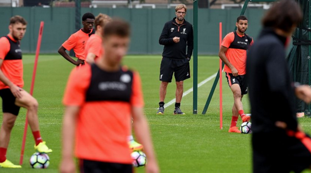Klopp in training with his players at Melwood on Thursday. (Picture: Getty Images)