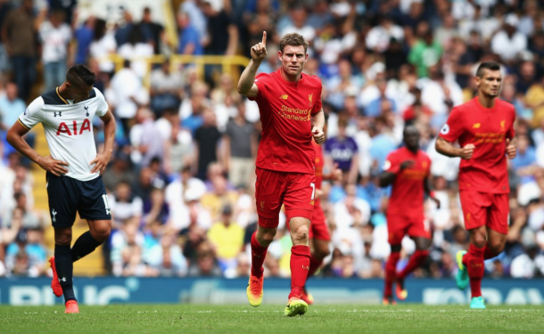 Milner's trademark salute to the away end after netting his spot-kick. (Picture: Getty Images)