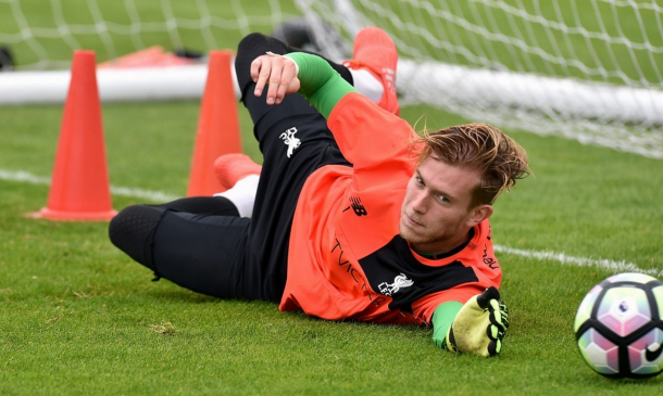 Karius making one-handed saves at Melwood earlier in the week. (Picture: Getty Images)
