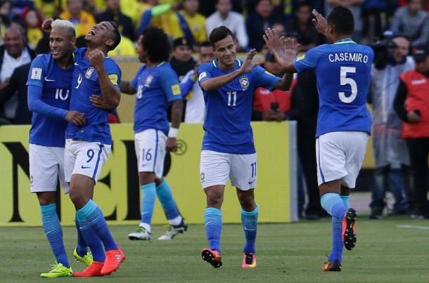 Coutinho celebrates one of Brazil's goals with his teammates in their 3-0 win over Ecuador. (Picture: Getty Images)