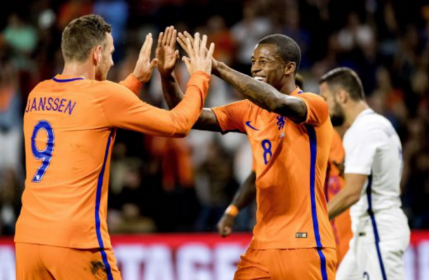 Wijnaldum celebrates getting on the scoresheet for his country. (Picture: www.nst.com.my)